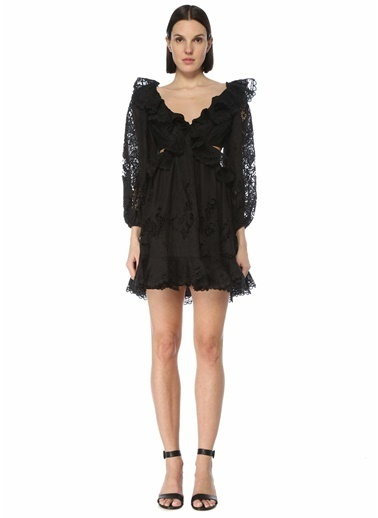 Zimmermann Zimmermann Brighton Scallop  Sırt Dekolteli Mini Elbise 101598404 Siyah
